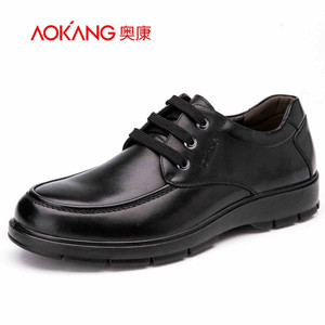 奥康男鞋 秋季新款耐磨真皮英伦低帮鞋商务休闲鞋圆头系带