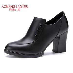 奥康女鞋 秋冬新品 时尚英伦简约大方真皮粗高跟女踝靴