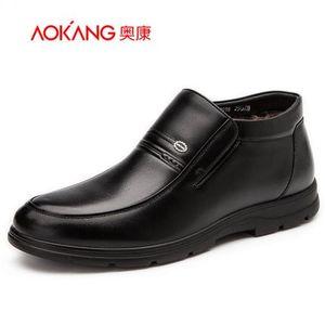 奥康男鞋 冬季新款男棉鞋男士商务休闲圆头套筒真皮舒适保暖