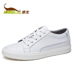 康龙 秋季男士真皮板鞋休闲鞋 头层牛皮鞋韩版潮流系带流行男鞋子
