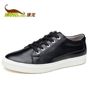 康龙秋季男士真皮板鞋休闲鞋 头层牛皮鞋韩版潮流系带流行男鞋子