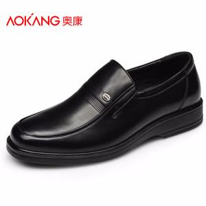 奥康商务休闲皮鞋 男士真皮男鞋低帮鞋子单鞋 舒适套脚爸爸鞋正品