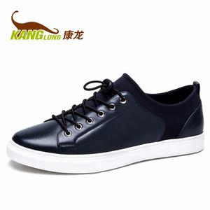 康龙秋季新款 真皮低帮板鞋 舒适透气耐磨男鞋头层牛皮日常休闲鞋