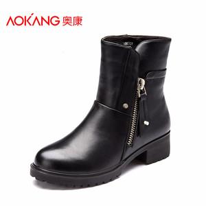 奥康女鞋 冬款时尚女短靴 保暖棉靴子舒适加绒真皮马丁靴女靴子