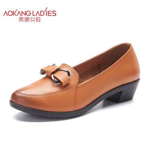 奥康女鞋 2016春季新款 擦色复古蝴蝶结舒适低跟套脚浅口女单鞋