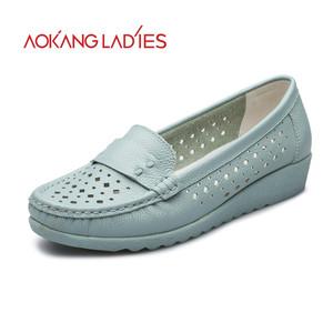 奥康女鞋秋季新品圆头单鞋真皮孕妇平底鞋舒适平跟镂空女鞋