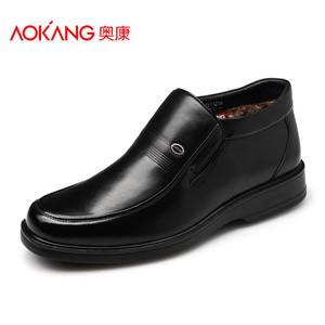 奥康男鞋棉鞋男士皮鞋真皮加绒保暖鞋商务男休闲高帮鞋子男鞋正品