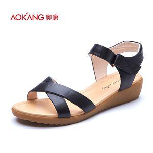 奥康女鞋 2016夏季新款时尚交叉纯色舒适橡胶牛皮魔术贴女凉鞋