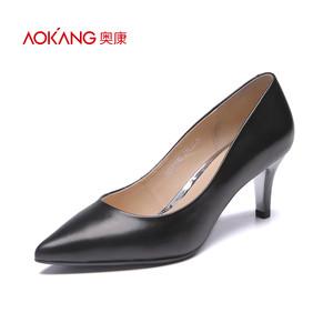 奥康女鞋 2016夏季新款时尚尖头百搭纯色舒适中跟通勤女单鞋