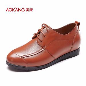 奥康女鞋 2016秋季新款时尚系带休闲舒适文艺拼接女单鞋