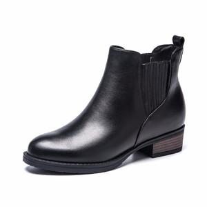 奥康女鞋2016秋冬新款韩版松紧圆头女鞋粗跟厚底真皮短筒短靴