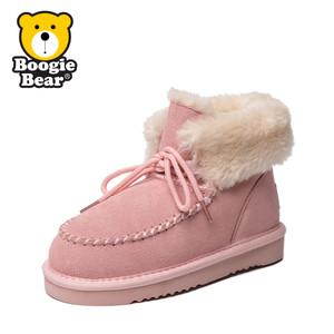 Boogiebear童鞋女童雪地靴皮毛一体男童棉鞋中童短靴秋冬靴子加绒