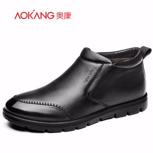 奥康男鞋 冬季新款真皮耐磨舒适保暖加绒简约套脚高帮皮鞋休闲鞋