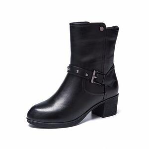 【门店发货】奥康女鞋冬季加绒保暖女鞋粗跟真皮中筒靴162011002