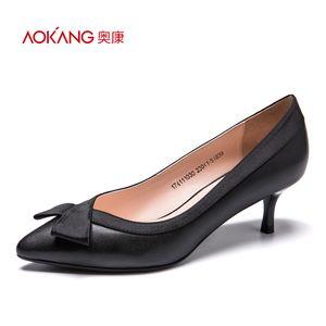 奥康女鞋春2017浅口细跟高跟鞋尖头时尚通勤女皮鞋真皮优雅女单鞋