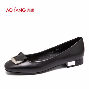 奥康女鞋2017春季新品 浅口金属扣简约时尚优雅低跟单鞋女