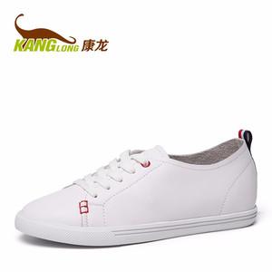 康龙春季新款小白鞋 女款低帮系带单鞋 平底舒适日常休闲鞋女鞋