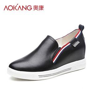 【门店发货】奥康女鞋 春季新品圆头中口内增高时尚休闲单鞋s