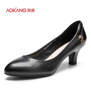 【门店发货】奥康女鞋  秋季新款浅口尖头粗跟简约通勤单鞋女