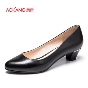 奥康女鞋2017春新款 简约时尚粗跟牛皮纯色浅口中跟鞋女