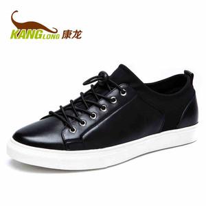 康龙 秋季新款 真皮低帮板鞋 舒适透气耐磨男鞋头层牛皮日常休闲鞋