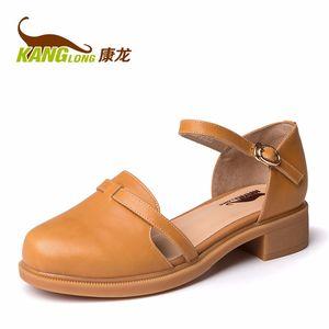 康龙春季新款玛丽珍鞋 羊皮一字扣带女鞋 粗跟舒适耐磨日常休闲鞋