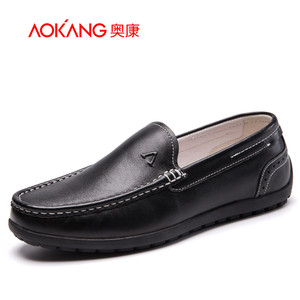【门店发货】奥康男鞋 新款真皮舒适套脚轻便休闲鞋青年驾车鞋子