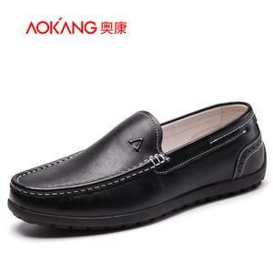 【门店发货】奥康官网 奥康男鞋 新款真皮舒适套脚轻便休闲鞋青年驾车鞋子