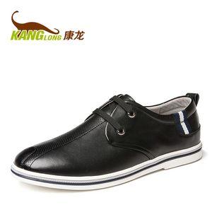 康龙男鞋 真皮春秋皮鞋头层牛皮休闲鞋日常男士百搭舒适男士皮鞋