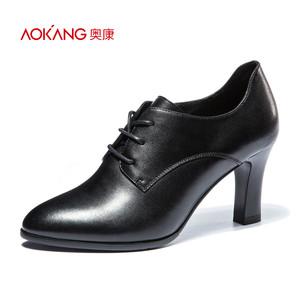奥康女鞋 2017秋季新品尖头粗跟系带商务通勤日常低帮鞋高跟鞋女