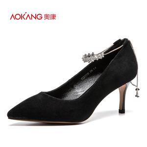 奥康女鞋 2017秋季新品尖头反绒纯色细高跟装饰脚链高跟鞋单鞋女
