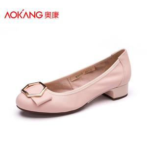 奥康女鞋 舒适时尚牛皮软面浅口圆头单鞋女中跟蝴蝶结套脚休闲鞋