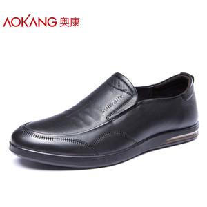 奥康男鞋 简约商务休闲皮鞋舒适套脚低帮鞋男士真皮轻便单鞋