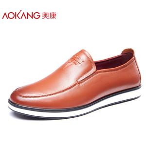 奥康男鞋 秋季新款圆头休闲真皮时尚男鞋低帮鞋套脚舒适男鞋