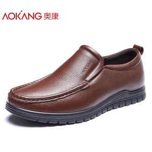 奥康男鞋 2017秋季新款牛皮商务休闲鞋皮鞋 舒适耐磨圆头爸爸鞋