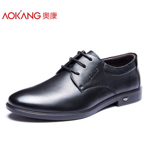 奥康男鞋 简约商务正装皮鞋 时尚系带柔软德比鞋