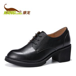 【门店发货】康龙粗跟单鞋女秋新款皮鞋女休闲百搭舒适高跟鞋