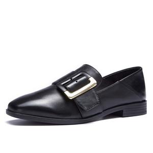 奥康女鞋 英伦风方扣女鞋平底鞋乐福鞋复古皮鞋穆勒鞋女单鞋