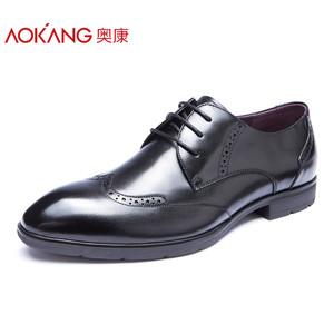 奥康男鞋 秋季新款商务正装布洛克皮鞋真皮系带尖头低帮鞋单鞋