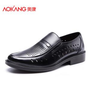 奥康男鞋 夏季真皮透气镂空商务凉皮鞋休闲男单鞋