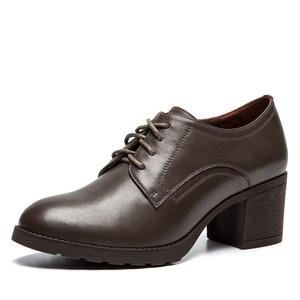 奥康女鞋 圆头粗跟系带通勤及踝单鞋简约低帮鞋女