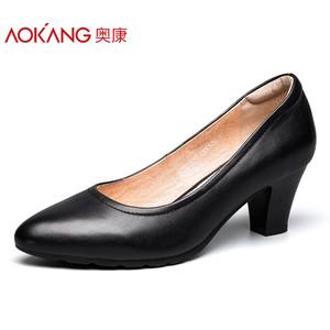 【门店发货】奥康女鞋 2017秋季新品圆头粗高跟浅口简约工作鞋女