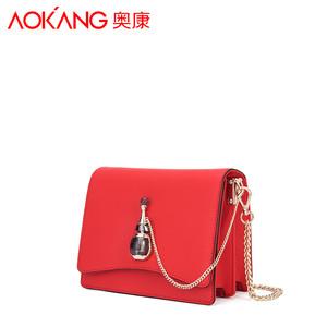 奥康女包2017秋新款香水系列小方包链条斜挎包单肩包红色淑女包包