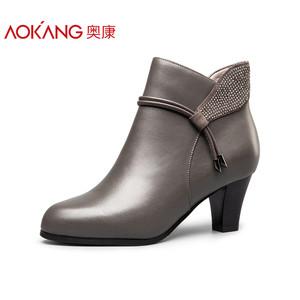 【线下同款】奥康女鞋 2017冬季新品尖头粗跟侧拉链短靴时尚优雅风尚女靴日常