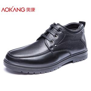 奥康男鞋 冬季新款商务真皮休闲鞋保暖加绒舒适护脚高帮鞋皮鞋子