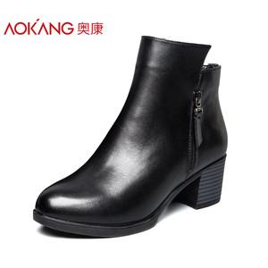 奥康女鞋 2017秋冬新款 简约皮面短靴女英伦舒适加绒粗跟女靴子