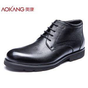 奥康男士皮鞋真皮商务正装鞋子系带英伦风秋冬季加绒高帮棉鞋男潮