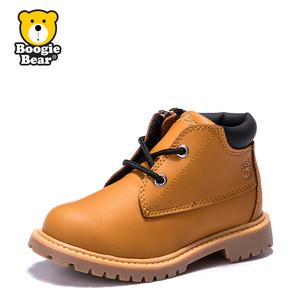 boogiebear童鞋2017冬季新款儿童马丁靴女童鞋子秋冬男童靴子中帮