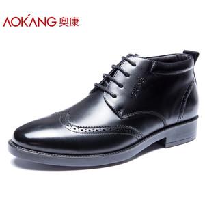 奥康布洛克男鞋 2017新款时尚加绒真皮商务正装英伦潮流绅士棉鞋
