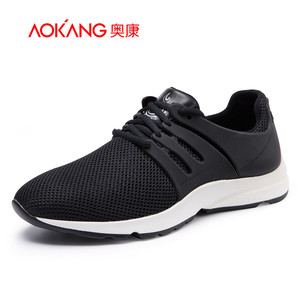 【门店发货】奥康男鞋 新款真皮网布运动休闲鞋耐磨青年男单鞋子